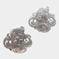French Art Nouveau Silver Lady Cufflinks