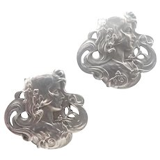 French Art Nouveau Silver Lady Cufflinks