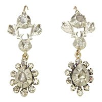 Georgian 9K Gold And Mine Cut Diamonds Drop Earrings