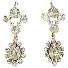 Georgian 9K Gold And Mine Cut Diamonds Drop Earrings