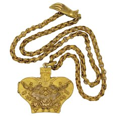 Georgian Pinchbeck Chain with Hand Clasp and Crown Vinaigrette Pendant