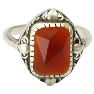 Arts and Crafts Sterling Silver and Carnelian Agate Ring
