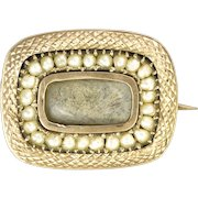 Victorian 9K Gold and Seed Pearls Memorial Lace Pin