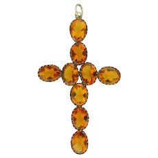Victorian Large Burnt Orange Pastes Cross Pendant