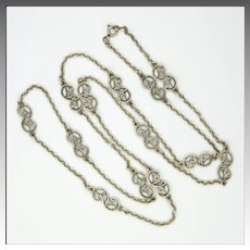 French Antique Silver Scrolling Necklace - 32""