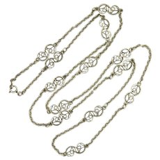 """French Antique Silver Scrolling Necklace - 32"""""""