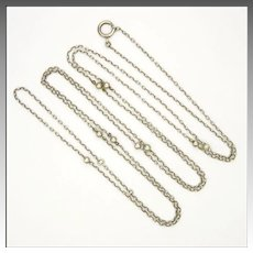 "French Antique Silver Balls Guard Chain - 61"" - 15.4 grams"