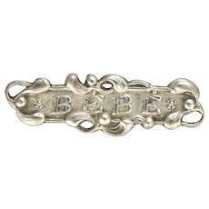 French Art Nouveau Silver Baby Mistletoe Pin
