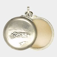 Swiss Antique 800 Silver Winter Sports Pendant Locket - HUGUENIN