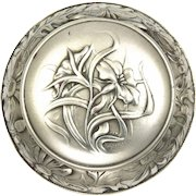Swiss Art Nouveau 875 Silver Flowers Compact or Pill Box - HUGUENIN