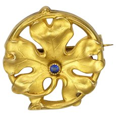 French 18K Gold Filled Sapphire Leaf Pin - FIX
