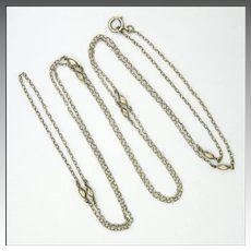 """French Antique Silver Guard Chain - 55"""" - 10.7 grams"""