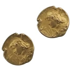 French Art Nouveau Gold Filled Joan of Arc Cufflinks
