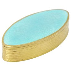 MARIUS HAMMER Norway Gold Washed Sterling Enamel Pill Box - 1913