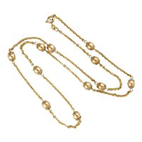 "Italian 10K Gold Bobble Necklace - Balestra -22""- 10.7 grams"