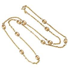 """Italian 10K Gold Bobble Necklace - Balestra -22""""- 10.7 grams"""