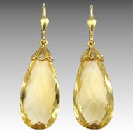 9K Gold and Citrine with Diamonds Drop Earrings