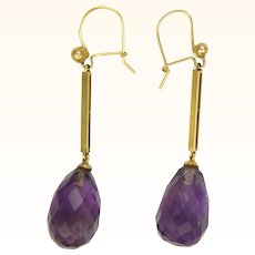 Art Deco 9K Gold Amethyst Drops