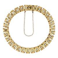Edwardian 15K Gold Woven Gate Style Bracelet
