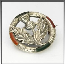 Victorian Silver Thistle Circle with Agates