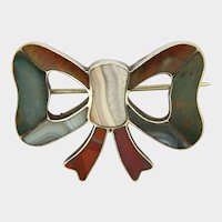 Victorian Scottish Silver and Agate Bow Pin