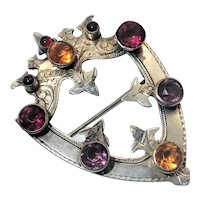 Victorian Scottish Silver and Pastes Brooch