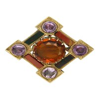 Victorian 1867 Scottish 9k Gold Cairngorm Amethysts and Agate Brooch