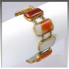 Art Deco Scottish Agates Bracelet on Gilt Metal