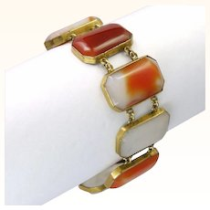 Art Deco Scottish Agates Bracelet on Gilt Metal