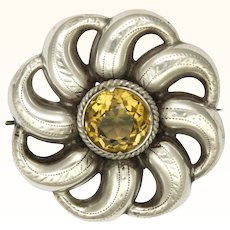 Victorian Large Engraved Silver and Citrine Pin