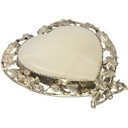 Victorian Chalcedony Agate with Silver Leaves  Heart Pin