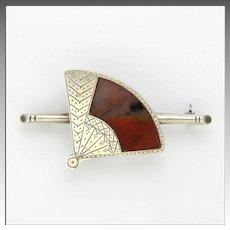 Art Deco Silver and Agate Fan Pin