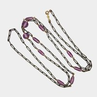 Victorian Gunmetal and Amethyst Glass Beads Guard Chain - 60""