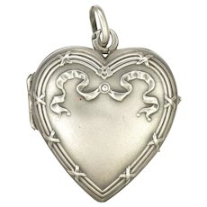 French Art Nouveau Small Silver Heart Locket