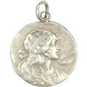 Art Nouveau Silver Gypsy Girl Pendant