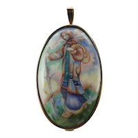 9k Gold Framed Ceramic Lady Pendant/Pin