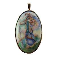 9k Gold Framed Ceramic Lady Pendant/Pin