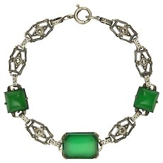 Art Deco Sterling Silver Chrysoprase Agate and Marcasite Bracelet