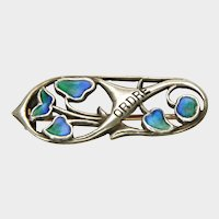 Art Nouveau Silver and Enamel Pin - LIBERTY