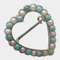 Victorian 9K Gold Turquoise and Pearls Heart Pin