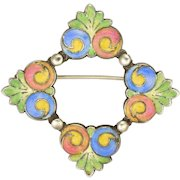 BERNARD INSTONE - Art Deco Sterling Silver and Enamel Flowers Pin