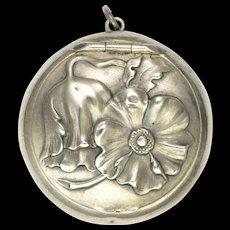 Art Nouveau German 800 Silver Poppy Box Pendant
