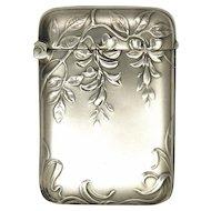 Art Nouveau French Silver Vesta with Wisteria Blossoms- MURAT