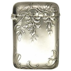 Art Nouveau French Silver Vesta with Wisteria Blossoms- MURAT