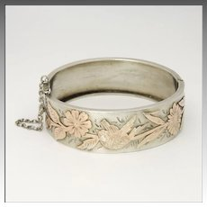 European Antique 800 Silver with Gold Overlay Bangle