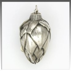 European 800 Silver Pin Cone Box Pendant