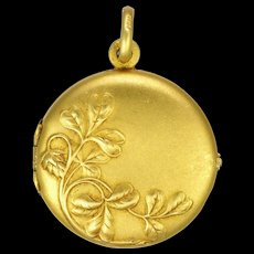 French Art Nouveau Gold  Filled Clover Locket - ORIA