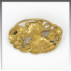 French Art Nouveau 18K Gold Filled Lady  Pin - TITRE FIXE