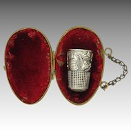 French Art Nouveau Silver Thimble in Brass Box