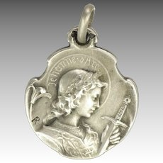 French Antique Joan of Arc Silver Pendant